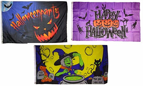 ALBATROS 3 ft x 5 ft Happy Halloween 3 Pack Flag Set #62 Combo Banner Grommets for Home and Parades, Official Party, All Weather Indoors Outdoors]()