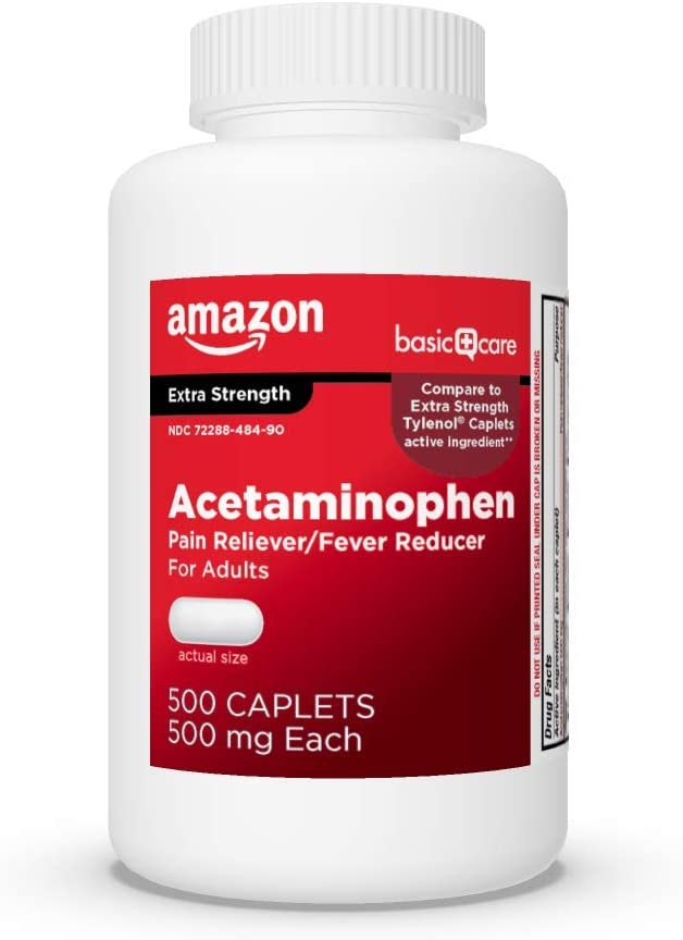 Basic Care Extra Strength Pain Relief, Acetaminophen Caplets, 500 mg, 500 Count: Health & Personal Care