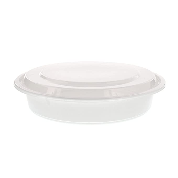 23 cm Round White Container with Lid, 1.42 litres, Case of 150 ...