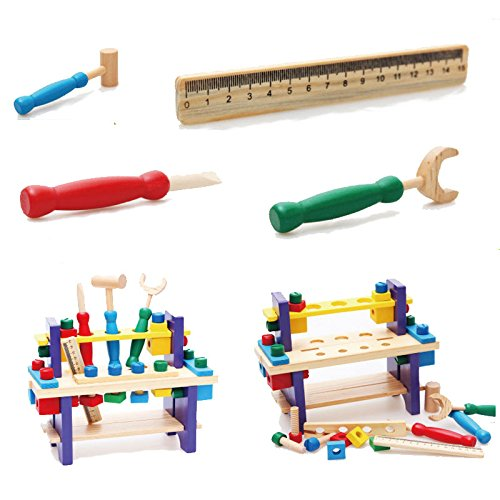 BigNoseDeer Wooden toy Tools set Workbench Construction woodworking kit Intellectual education for kids