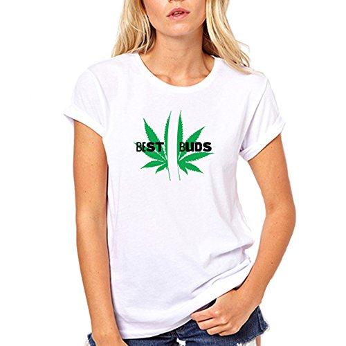 GullPrint Women's Best Buds Funny T Shirt Large - Leaf Marajuna