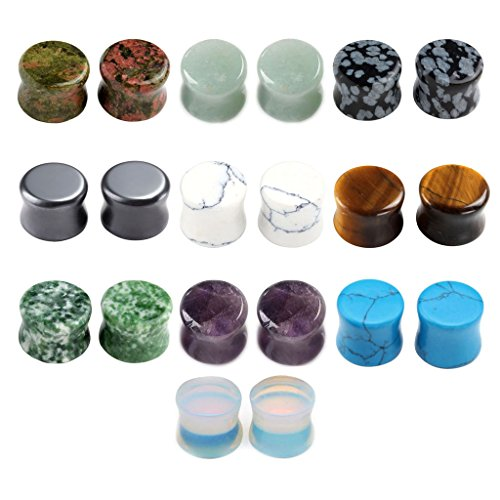 Jovivi 20pc Mixed Natural Semi Precious Stones Double Flared Saddle Plugs Ear Expander Stretcher Gauges 2g-5/8