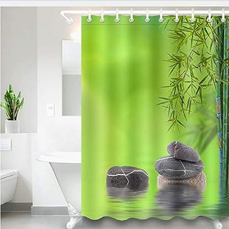 Chenghaos shop SPA Impermeable Cortina De Ducha Tejido De Poliéster Verde Hoja De Bambú Negro Piedra Mamparas De Baño Cortinas para Bañera Decoración para El Hogar 150 (W) X180 (H) Cm: Amazon.es: