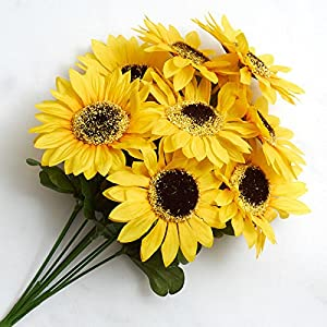 Factory Direct Craft Colorful Yellow Poly Silk Artificial Sunflower Bush for Indoor Decor 84
