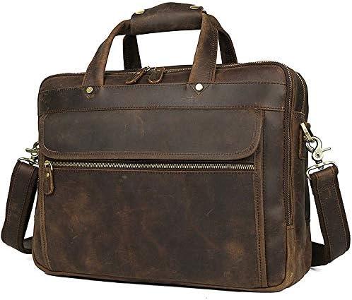 メンズブリーフケース メンズブリーフケースヴィンテージレザービジネストート大容量のラップトップバッグに最適のビジネスの人々や学生 便利で持ち運びが簡単 (Color : Brown, Size : 39x12.5x30cm)