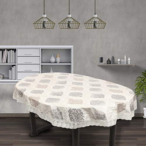 OrientalWeavers Decojewels PVC Dining Table Cover, 60″ X 90″, 6 Seater Oval Shape Table Cover with White Side Trim Lace (150 cm X 225 cm), Anti Bacterial Anti Fungal Oeko Tex-Standard-100