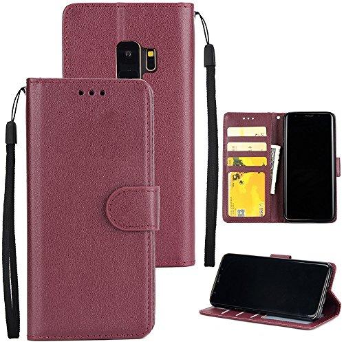 Funda Samsung Galaxy S9 Plus [Happon] Ranuras para Tarjetas y Billetera Carcasa PU Libro de Cuero Flip Leather Cierre Magnético Soporte Plegable para Samsung Galaxy S9 Plus (Azul) Vino Rojo