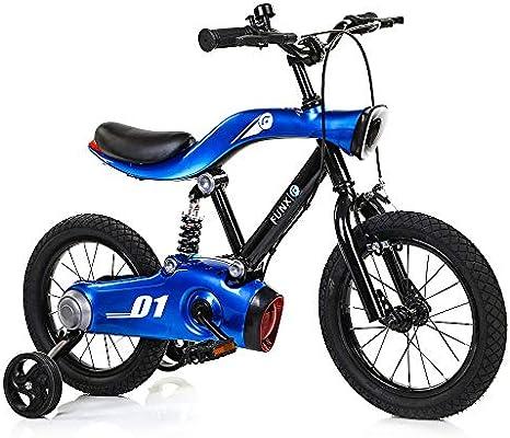 Bicicletas Para Niños Ejercicio Baby Balance Car, Bicicleta de Carretera de Montaña de 14/16 Pulgadas Con Música Ligera Con Rueda Auxiliar Estable,Blue-14inch: Amazon.es: Hogar