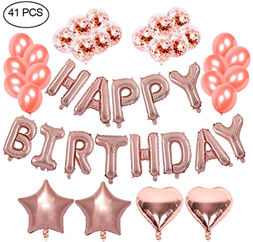Birthday Party Decoration Set Rose Gold -16 inch Rose Happy Bithday Foil Balloons for Wedding and Birthday Party Supplies,Pack of 41