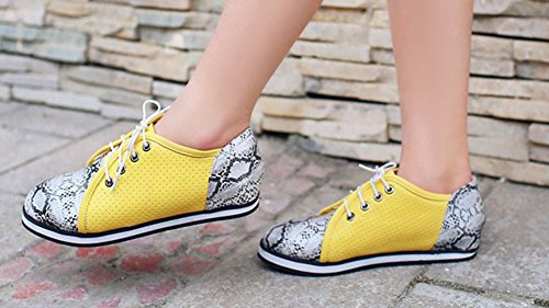 Dotted Block Women's Breathable Swiss Colour Casual Skateboarding Heighten Shoes Yellow Aisun qfpXwZX