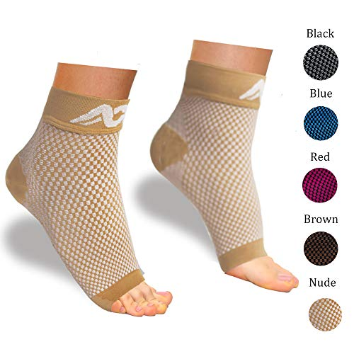 ACTINPUT Compression Foot Sleeves for Men & Women – Best Plantar Fasciitis Socks with Arch Support (Nude, Large)