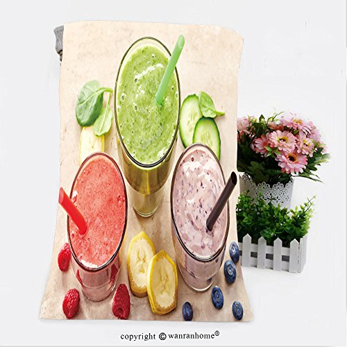 VROSELV Cotton Microfiber Bathroom Bath Towel-glasses of various smoothies with straws for healthy dieting breakfast Custom pattern of household (Breakfast Sham)