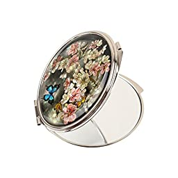 Compact Makeup Mirror MagnifyingDouble Sided Mother Of Pearl Blue Butterfly Flower Mms21