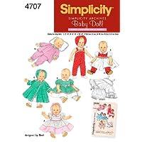 Patrón de costura de simplicidad Ropa de muñeca 4707, A (S-M-L)