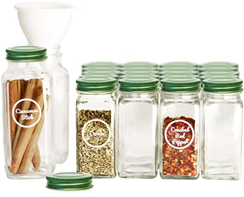 SpiceLuxe Premium Spice Jar Set -26 Empty Square Glass Jars, Green Metal Airtight Lids, 100 Spice Labels, Easy Pour Funnel, and Shaker Tops - Decorative Containers Organize Your Spice Rack or Pantry ()