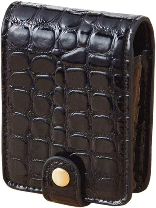 TENDYCOCO Lipstick Case with Mirror Makeup Bag Cosmetic Pouch for Women with Alligator Print(Black)