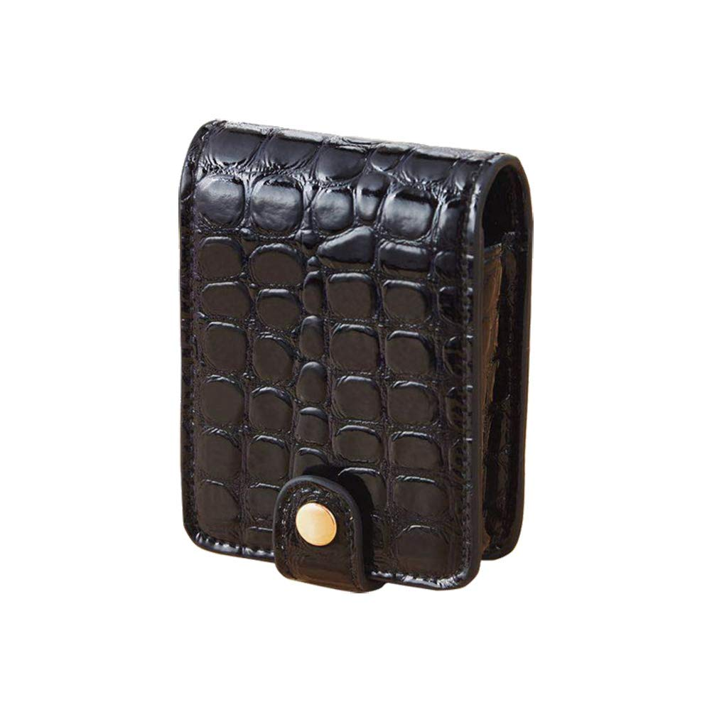 1PC Portable Lipstick Case PU Alligator Print Travel Makeup Bag Cosmetic Pouch for Women (Black)