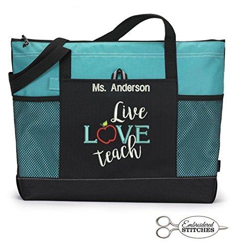 Personalized Teacher Zippered Tote - Live Love Teach