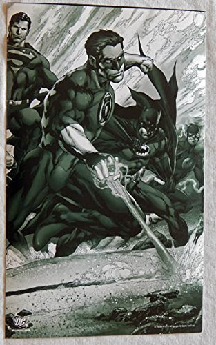 "DC Comics 2011 ""Drawing The Line"" Jim Lee B&W LITHOGRAPH 10 X 7 Inches - DC Comics 2011 - Graded 9.8 - Green Lantern Superman Batman Flash - Very Rare ONLY ONE ON AMAZON!"