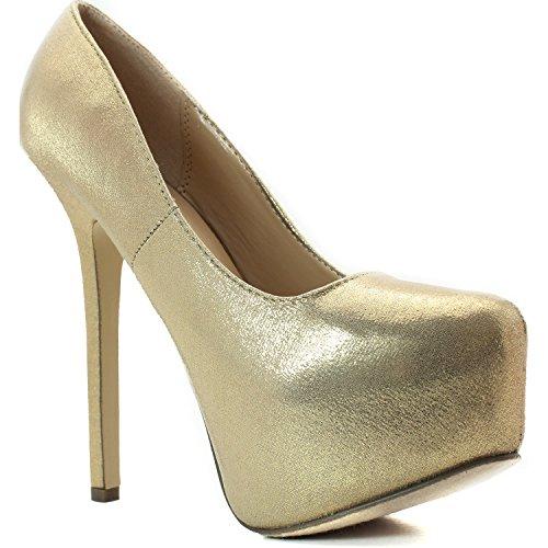 Breckelles Marisa-23 Platform Pumps-shoes Tessuto Metallico Oro