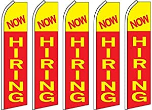 5 Swooper Flutter Flags NOW HIRING Red Yellow
