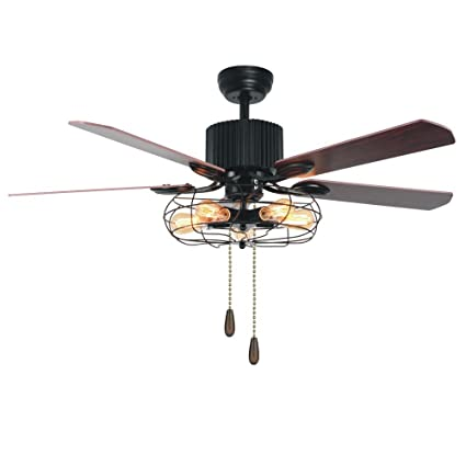 Tropicalfan Vintage Cage Ceiling Fan With Lights Remote Control