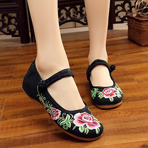 Zapatos Planos Chino amp;G Zapatos Oxford Zapatos black Mujer Mujer flower NGRDX Bordado Elegant q8pORRx