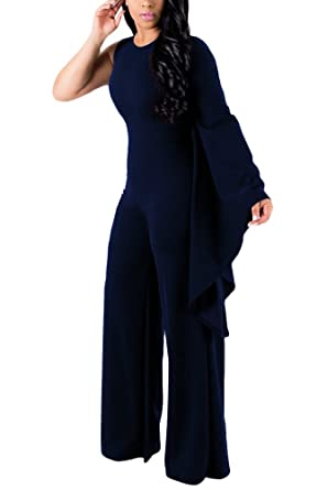 be7b7cfa5ce Amazon.com  Womens One Off Shoulder Solid Flare Bell Sleeve and Bottom One  Piece Club Party Jumpsuit Rompers  Clothing