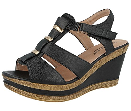 Ladies Cushion Walk Wide E Fit Leather Lined Wedge Peep Toe Strappy Summer Sandal Size 3-8 A04 Black