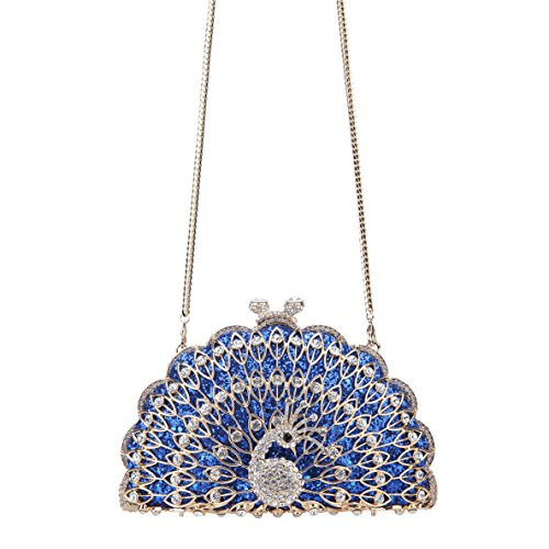 Shape Clutch Purse Metallic Peacock Evening Bonjanvye Bag Blue Animal Gorgeous xFZHaWqwcT
