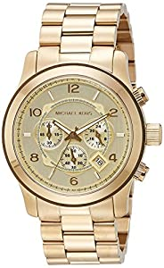 amazon com michael kors mk8077 gold tone men s watch michael michael kors mens runway chronograph watch mk8077