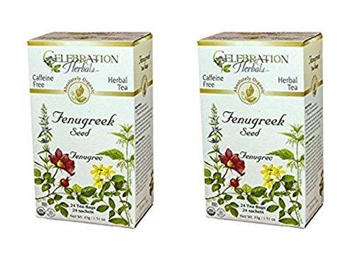 Celebration Herbals - Organic Caffeine Free Fenugreek Seed Herbal Tea - 48 Tea Bags (2 packs of 24) - Fenugreek Seed Tea