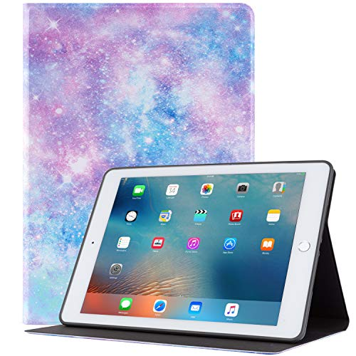 iPad 9.7 inch Case 2018/2017iPad Air 2 Case, Glowish Premium Leather Folio Case Cover and Multiple Viewing Angles Stand for Apple iPad 6th / 5th Gen iPad Air 2/ iPad Air(Purple Galaxy) (Ipad Case Galaxy)