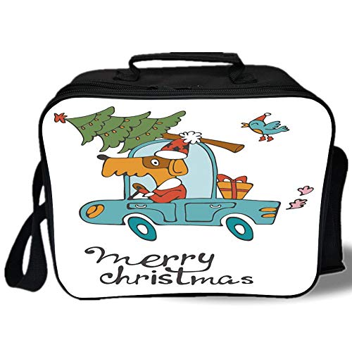 Insulated Lunch Bag,Christmas,Blue Vintage Car Dog Driving with Santa Costume Cute Bird Tree and Gift Present,White Multi,for Work/School/Picnic, Grey -