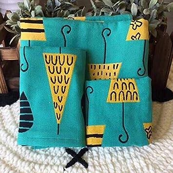 Bearony Suave Conjunto de 3 Algodón Encantador Patrón Floral Paraguas Toallas para niños Toallas de Mano Conjunto de Toallas de baño (Color : Olive Green): ...