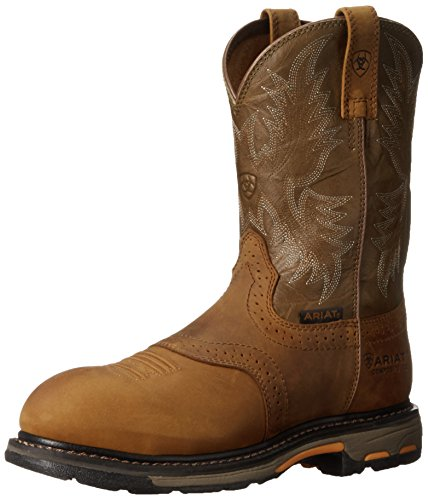 - Ariat Men's Workhog Pull-on Composite Toe Work Boot, Aged Bark/Army Green, 9.5 2E US