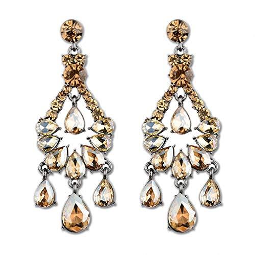 Womens Drop Dangle Earrings Vintage Bohemia Black Red Green Crystal Big Earring for Women Fashion Jewelry Water Drop Dangle Drop Earrings Bijoux - Bijoux Champagne