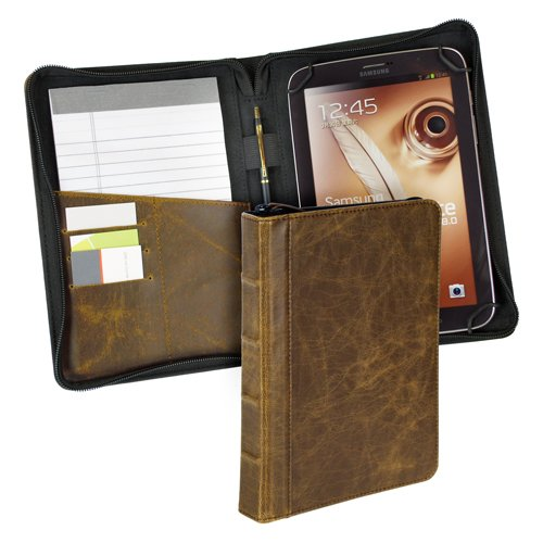 Samsill Vintage Hardback Universal 7 inch - 8 inch Tablet Cases for iPad Mini and Android Tablets - Tan (35025) by Samsill (Image #2)