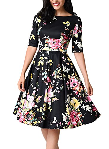 Sidefeel Women Vintage 1950's 3/4 Sleeve Floral Print Pleated Cocktail Swing Dress X-Large Black