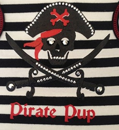 ''Pirate Pup'' Skull & Crossbones Nautical Striped Tank Shirt and Pin- Dog Sizes XS thru L (Medium - Chest 16''-18, Neck 14'', Black)