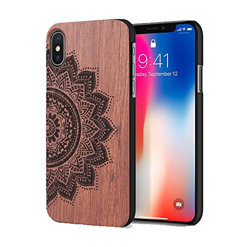 iPhone X Case, Real Wooden Protective Cellphone Case, Handmade Carving Shockproof Drop proof Case Cover for Apple iPhone 10 Open Top and Bottom(Half Flower)