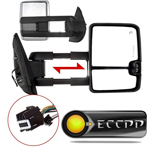ECCPP Chrome Side Mirrors For 07-14 Sierra Towing Power Heated Clearance Signal Pair