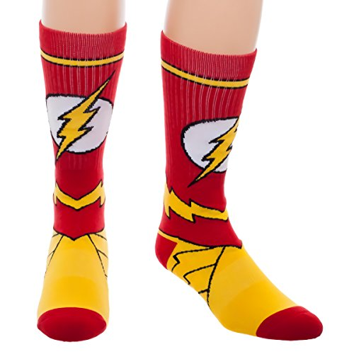 DC Comics Flash Suit Up Crew Socks One size fits most men, women and teens -