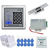 HFeng 125KHz RFID Keypad Door Access Control System Kit +12V/3A Power Supply Switch + Fail Secure Electric Strike Lock+ Door Exit Button+10 Cards+10 Key Tags Door Opener