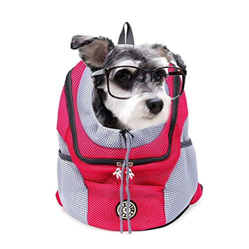 39037e4b38ec LIAOYLY Outdoor Pet Dog Carrier Bag Front New Out Double Shoulder Portable  Travel Backpack Mesh Head,Red,30x34x16 cm,