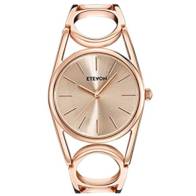 ETEVON Women Quartz Rose Gold Wrist Watch with Round-Hollowed Bracelet Stainless Steel Waterproof, Fashion Luxury Dress Bangle Watches for Woman Lady by ETEVON