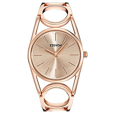 ETEVON Women Quartz Rose Gold Wrist Watch with Round-Hollowed Bracelet Stainless Steel Waterproof, Fashion Luxury Dress Bangle Watches for Woman (Water Proof Watches Ladies)