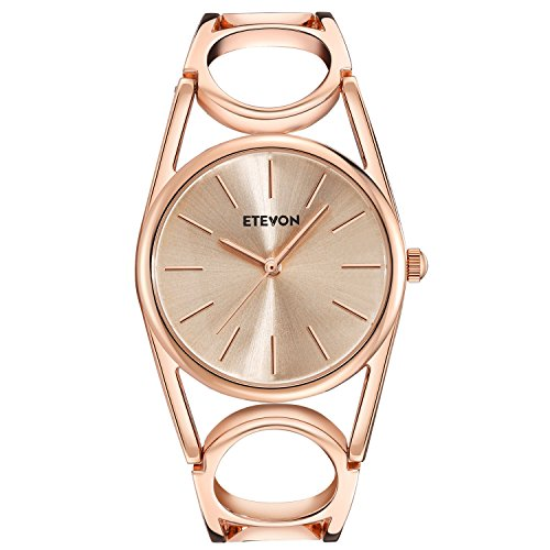 ETEVON Women's Quartz Rose Gold Wrist Watch with Simple Dial Style and Round Hollow Bracelet Water Resistant, Fashion Luxury Dress Watches for Women (Rose Gold)