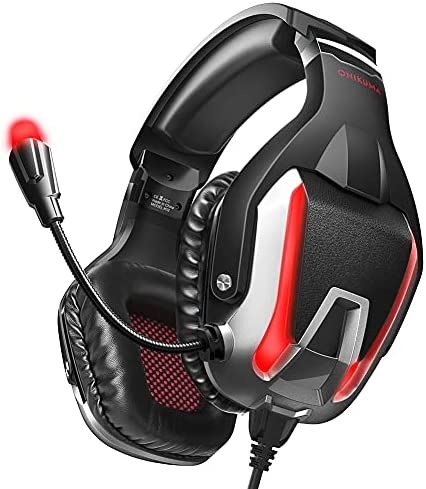 ONIKUMA Gaming Headset, Noise Canceling Gaming Headphone with Microphone and Surround Sound, LED Light, Compatible with PS4,PC,Mac, Xbox One(Adapter Not Included) (Black-Red)