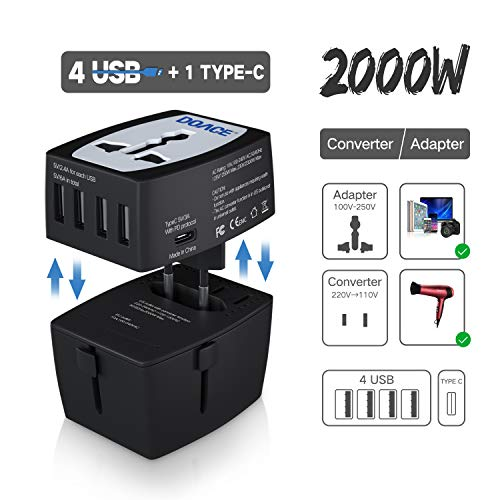 DOACE M9 2000W Travel Voltage Converter 220V to 110V for Hair Dryer Steam Iron, 10A Universal All in One UK/AU/US/EU Power Adapter with 4-USB Port and PD Charger for Laptop MacBook Camera Cell Phone ()